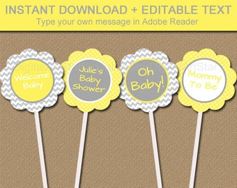 Yellow Gray Baby Shower Cupcake Toppers, Printable Chevron Party Supplies, Birthday Favor Tags, Gender Neutral Baby Shower Ideas BB1