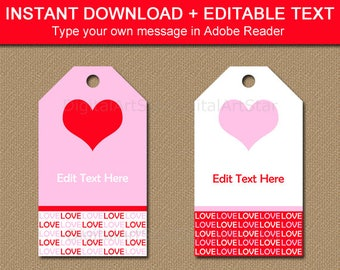 Printable Valentine Gift Tags, Printable Love Tag, Love Gift Tag, Valentine Wedding Gift Tag, Party Favor Tags, Valentine Wedding Shower V8