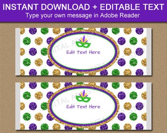 Mardi Gras Candy Bar Wrappers, Mardi Gras Party Favors, Mardi Gras Candy Favors, Party Printables, Editable Candy Labels Confetti Party M2