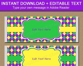 Mardi Gras Chocolate Bar Wrappers, Printable Candy Bar Wrappers, Mardi Gras Baby Shower Party Favors, DIY Party Favors, Editable Template M1