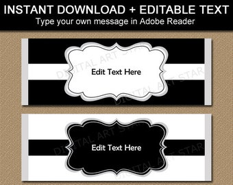Chocolate Wrappers Template, Black and White Party Favors, 80th Birthday Ideas, Retirement Party Favors, 90th Birthday, 100th Birthday B7
