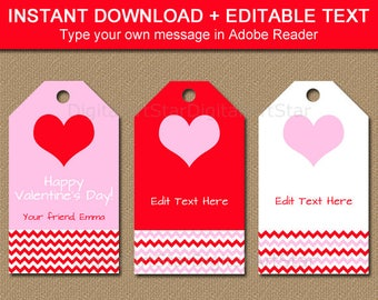 Valentines Day Hang Tags Printable Valentine Party Favor Tags, Valentine Wine Bottle Tags Pink and Red, Editable Tags, Digital Download V1