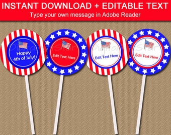 4th of July Cupcake Toppers Printable - Cupcake Picks - 4th of July Favor Tags - Patriotic Birthday Decoration - USA Cupcake Topper P1