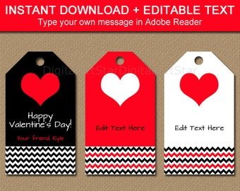 Valentine Gift Tag Printable, Editable Valentines Day Tags, Valentines Day Party Ideas, Downloadable Classroom Valentine Tags Black Red V1