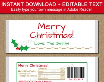 Christmas Candy Bar Wrapper Template - Printable Holiday Chocolate Bar Wrappers - Downloadable Xmas Candy Wrappers - Christmas Favor Ideas