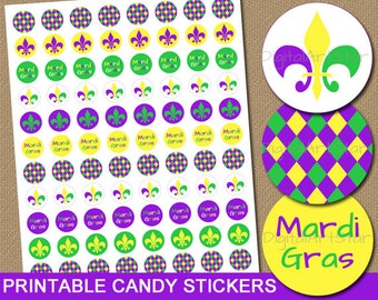 Mardi Gras Candy Stickers, Printable Mardi Gras Stickers, DIY Party Favors, Mardi Gras Birthday Idea, Candy Labels Instant Download M1