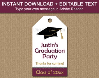 Maroon Graduation Thank You Tags Template, Printable Graduation Tags, Graduation Favor Tags 2021, High School Graduation Party Ideas G1