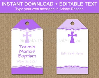 Printable Baptism Tags - Purple Baptism Favor Tags - Purple First Communion Tags - Baptism Thank You Tags - Christening Thank You Tags I5