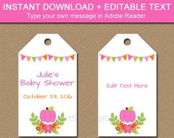 Fall Baby Shower Tags - Fall Bridal Shower Tags - Fall Birthday Tags - Pink Pumpkin Tags - PRINTABLE Pumpkin Favor Tags Baby Girl Shower LP1