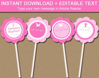 Pink Christening Cupcake Toppers, Girl Baptism Cupcake Picks, EDITABLE Baptism Stickers, First Communion Tags, Catholic Cupcake Toppers I1