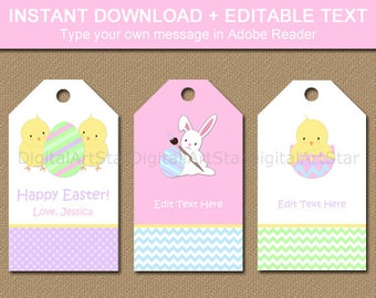 Easter Tags - Easter Gift Tags - Easter Bunny Tags - Kids Easter Idea - Printable Hang Tags - EDITABLE Tags - INSTANT DOWNLOAD Easter Party