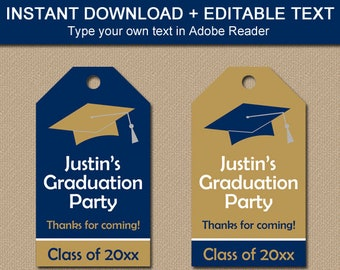 Navy and Gold Graduation Thank You Tags - Editable Graduation Party Favor Tags - Downloadable Graduation Tags - Graduation Printable Tags G1