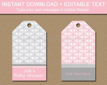 Pink and Grey Baby Shower Tags, Pink and Gray Hang Tags, Damask Baby Shower Template INSTANT DOWNLOAD, Girl Baby Shower Ideas, Bridal Shower