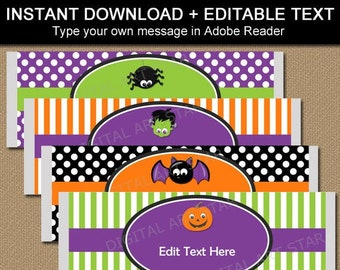 Halloween Candy Wrappers Instant Download - Halloween Party Favors for Kids - Edit Printable Chocolate Bar Wrapper Template HF