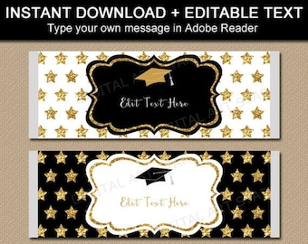 Black and Gold Graduation Favors, Graduation Candy Bar Wrappers, Gold Graduation Party Favors 2021, College Graduation Party Ideas G10