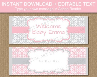 Pink and Silver Baby Shower Favors, PRINTABLE Wedding Favors, Pink and Grey Bridal Shower Favors, Candy Bar Wrappers, Chocolate Bar Labels