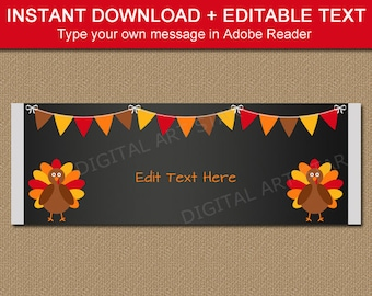 Thanksgiving Candy Wrappers Template, Thanksgiving Printables, Thanksgiving Downloadables Party Favors, Kids Thanksgiving Party Favors
