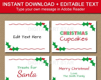 printable christmas food labels tent cards christmas place etsy
