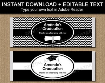Graduation Candy Bar Wrappers, Black and White Graduation Party Favors, Chocolate Bar Wrappers, Printable Candy Wrapper Template Editable G3