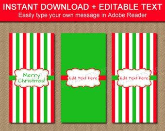 Christmas Candy Bar Wrappers - PRINTABLE Christmas Candy Wrappers - Holiday Candy Labels - EDITABLE Christmas Stocking Stuffers CSV