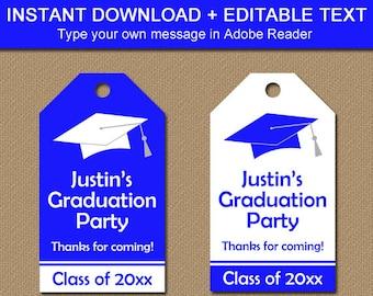 Graduation Tags, Graduation Thank You Tags, Printable Tag Template, Editable Tags, Graduation Gift Tags, Royal Blue Graduation Hang Tags G1