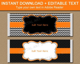 Halloween Candy Bar Wrapper Template, Chocolate Bar Wrappers Birthday, Halloween Party Favors, Printable Candy Bar Labels Black Orange BB1