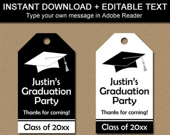 Black and White Graduation Favor Tags, Black Graduation Thank You Tags, High School Graduation Party Favor Tags, Hang Tag Template G1