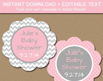 Baby Shower Thank You Tag, Baby Shower Label, Baby Shower Favor Tags, Bridal Shower Thank You Tag, PRINTABLE Pink and Gray Chevron Tags BB1