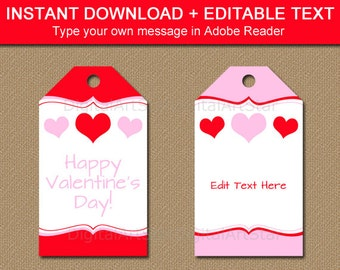 Printable Valentines Day Gift Tags Editable Valentine Party Etsy