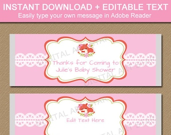 Girl Baby Shower Candy Wrappers - Printable Woodland Candy Bar Wrappers - Pink Fox Baby Shower Party Favors - Editable Candy Labels BSGF