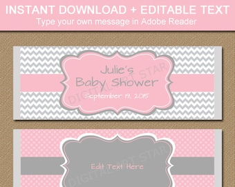 Pink Gray Printable Baby Shower Candy Wrappers, Chocolate Bar Wrappers, EDITABLE Baby Shower Party Favors, Bridal Shower Candy Labels BB1