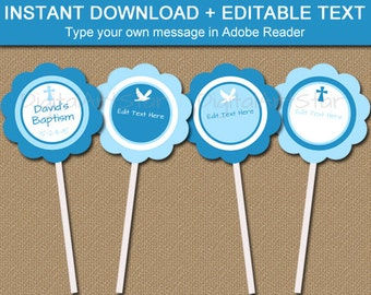 Blue Baptism Cupcake Toppers, Printable Boy Christening Decor, First Communion Tags, Christian Cupcake Toppers, Boy Baptism Cupcake Picks I3