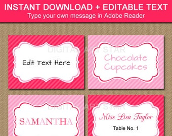 Pink Tent Cards, Pink Labels, Pink Buffet Cards - Printable Pink Baby Shower Labels, Pink Bridal Shower Labels Instant Download Buffet Label