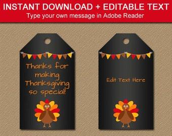 Thanksgiving Tags Printable - Thanksgiving Favor Tags - Thanksgiving Thank You Tags - DIY Thanksgiving - Thanksgiving Chalkboard Printable