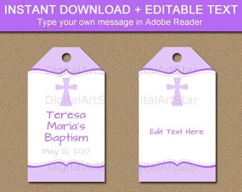 Baptism Gift Tags, First Communion Gift Tags, Christening Gift Tags, Lavender Baptism Favor Tags, Girl Baptism Tag Printable Download I5