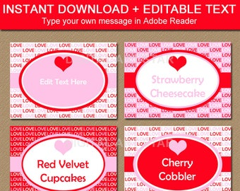 Valentine Labels, Valentine Candy Buffet Labels, Valentine Tent Cards, Valentine Food Labels, Valentine Food Tents, Pink and Red Party V8