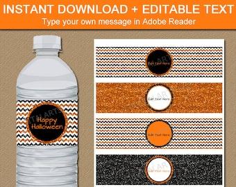 Halloween Bottle Wrap Template, Halloween Water Bottle Labels Printable, Halloween Party Ideas, Orange and Black Water Bottle Stickers B8