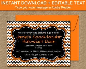Adult Halloween Invitation Printable, Halloween Invite, Editable Halloween Sign, Costume Party Invitation, Glitter Invitation Birthday B8