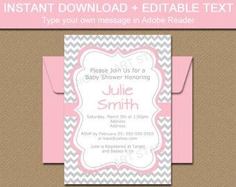 Baby Shower Invitation, Bridal Shower Invitation, Pink and Gray Chevron Invitation Printable Bridal Invitation, Gray Chevron Baby Shower BB1