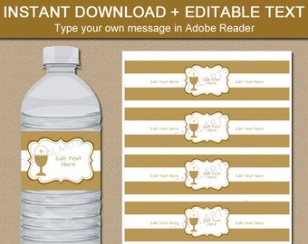 Gold First Communion Water Bottle Labels Template, Boy First Communion Decorations Ideas, Communion Favors Girl, Printable Decor FC1