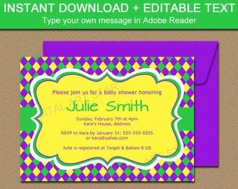 Mardi Gras Baby Shower Invitation, EDITABLE Mardi Gras Invitation Template Printable Mardi Gras Party Invites Instant Download M1