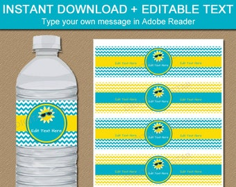 Teacher Appreciation Printable, Family Reunion Water Bottle Labels, Summer Party Decorations, Summer Birthday Party, Retirement Party BB1