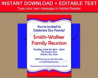 Family Reunion Invitation Template - Printable Family Picnic Invitations - Editable Template - Editable Invitation - Printable Invitation B7