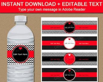 Happy Valentines Day Water Bottle Labels - EDITABLE Valentines Day Party Decor - Printable Red Black Valentine Labels Digital Download V1