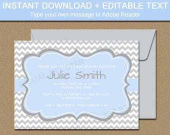 Blue and Gray Baby Shower Invitation Template - EDITABLE Baby Shower Invitation Boy - Printable Boy Shower Invitation Digital Download BB1