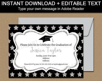 College Graduation Invitation Instant Download, Black and Silver Graduation Invitations Printable Invitation Girl, Grad Invitation Boy G10
