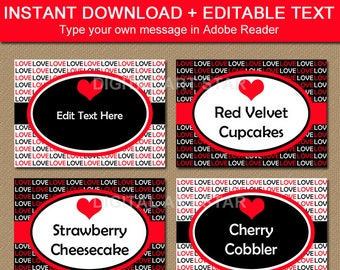 Printable Candy Buffet Labels, Valentines Day Labels, Wedding Place Cards, Anniversary Labels, Edit Food Label, Candy Station Labels V8