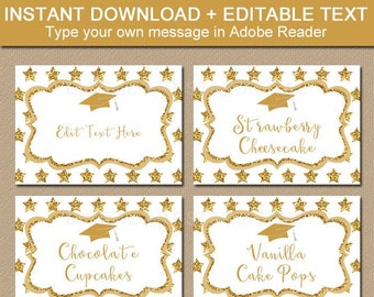 Graduation Candy Buffet Labels, Gold Graduation Printables, Graduation Name Card Insert, Food Labels, Food Tents, Tent Cards, Place Card G10