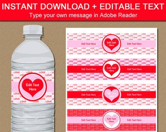 Valentine's Day Water Bottle Labels, Valentine Decor, Printable Labels, Printable Favors, Pink and Red Water Bottle Stickers Labels V8