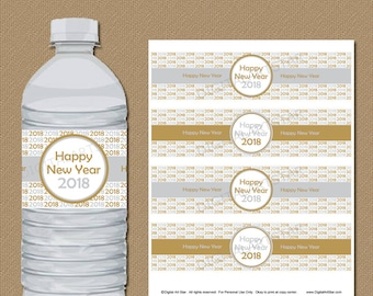 New Years Eve Party Favors, 2018 New Year Printable, DIY New Year Party, New Years Eve Decorations, Gold and Silver Water Bottle Labels